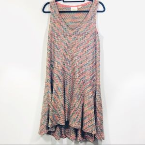 Maeve Multicolor Crochet Knit Hi Low Dress Anthro